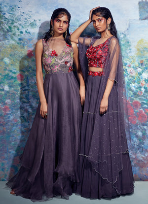 Taavare-Grey Embroidered Organza Gown-INDIASPOPUP.COM
