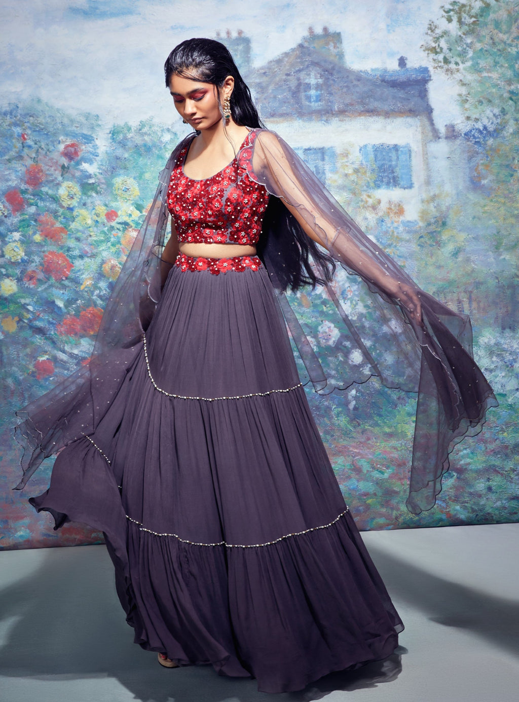 Grey & Red Lehenga Set With Cape