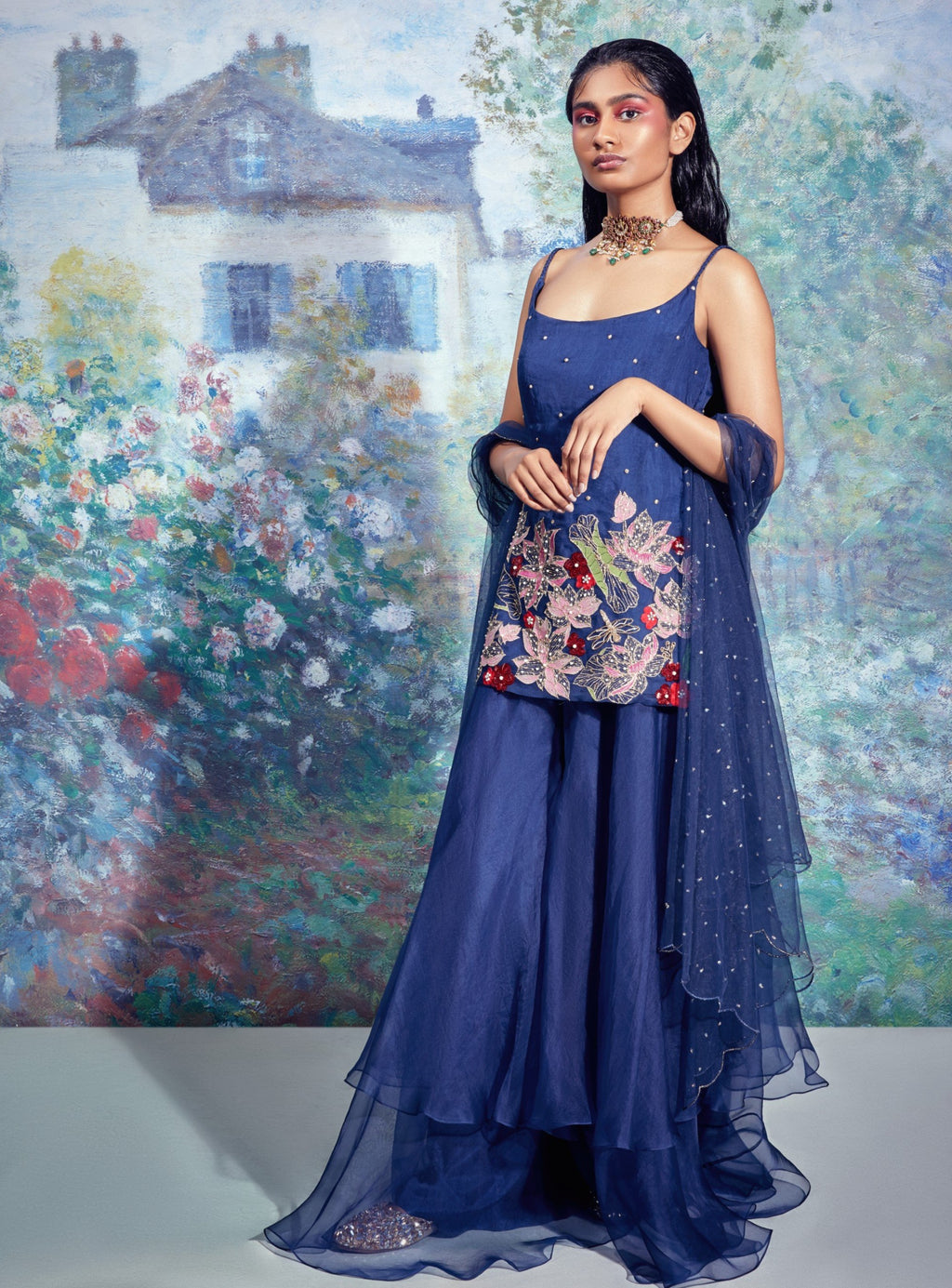Blue Embroidered Kurti With Pants & Dupatta