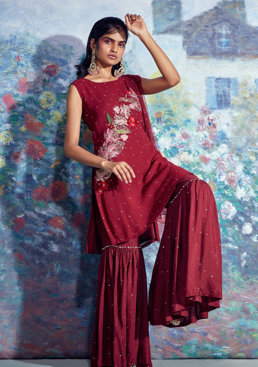 Maroon Embroidered Kurti With Gharara