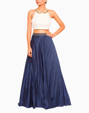 SALT AND SPRING FRENCH KNOTS BLUE LEHENGA