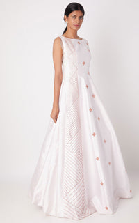 Pink Peacock Couture-Lilac Embroidered Shoulder Panel Gown-INDIASPOPUP.COM
