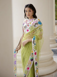 Aisha Rao-Moss Green Embellished Saree With Blouse-INDIASPOPUP.COM