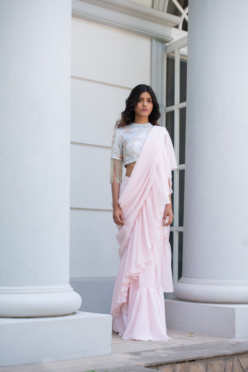 Pink Ruffled Pre-Draped Saree