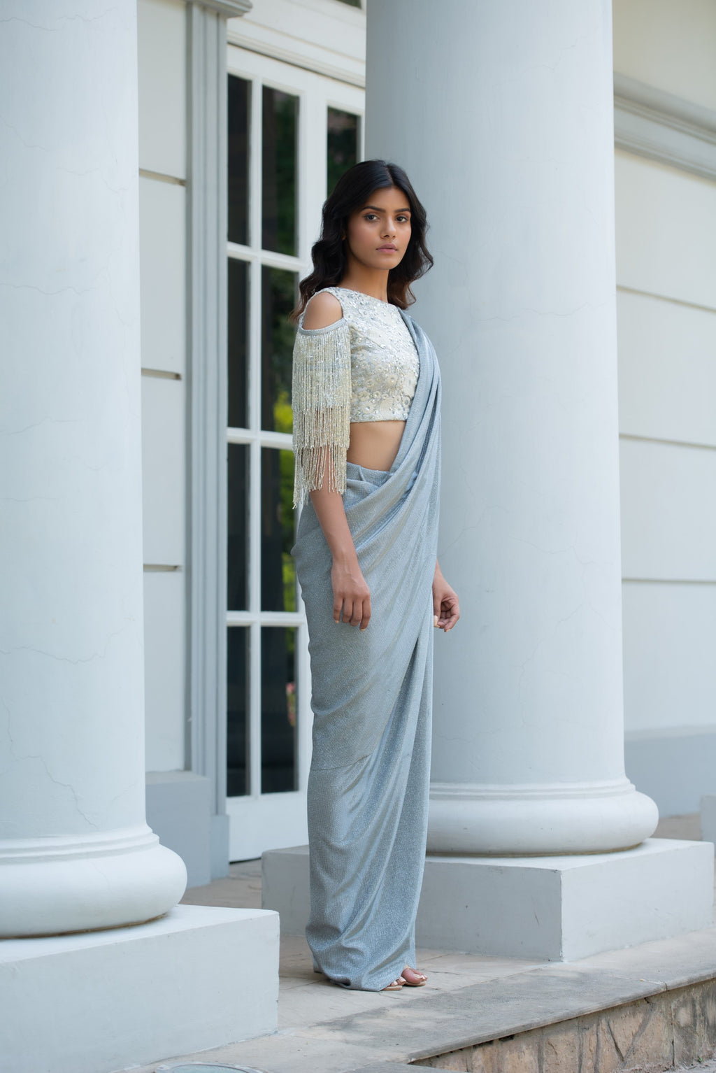 Amaira - Blue Metallic Pre-Draped Saree Set - INDIASPOPUP.COM