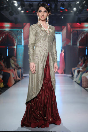 Joy Mitra - Grey Embroidered Jacket & Garara - INDIASPOPUP.COM