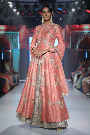 Joy Mitra - Pink Embroidered Anarkali & Skirt - INDIASPOPUP.COM