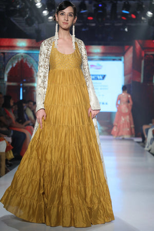 Joy Mitra - Yellow Anarkali With Cream Jacket - INDIASPOPUP.COM