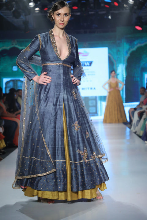 Joy Mitra - Grey Embroidered Anarkali & Skirt - INDIASPOPUP.COM