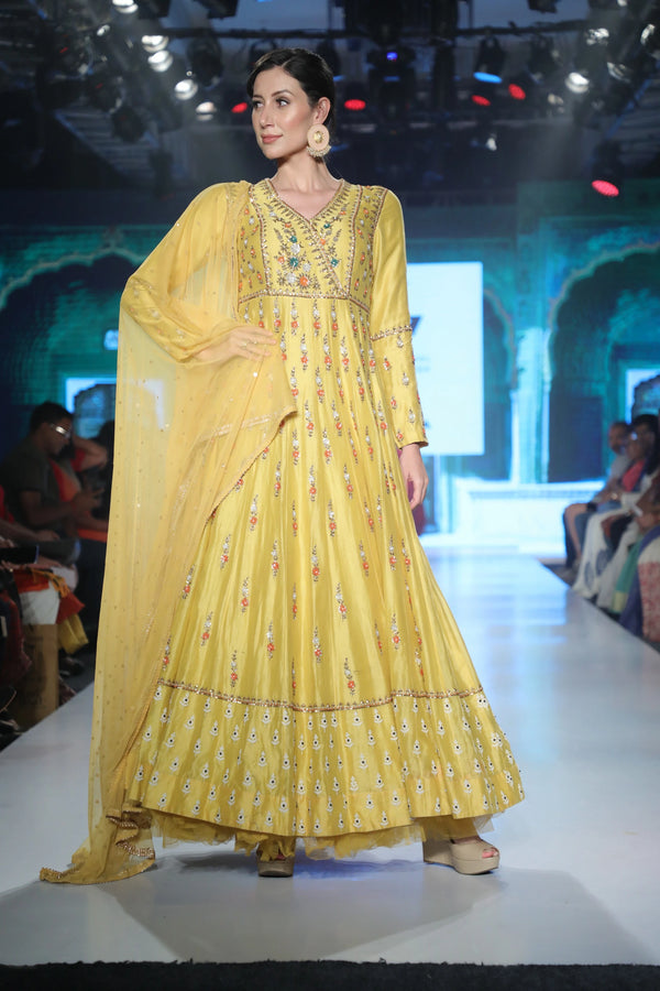 Joy Mitra - Yellow Embroidered Anarkali With Dupatta - INDIASPOPUP.COM