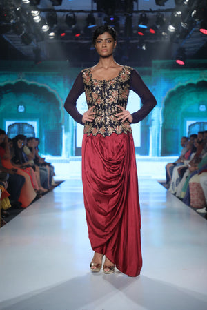 Joy Mitra - Maroon Embroidered Jacket With Dhoti - INDIASPOPUP.COM