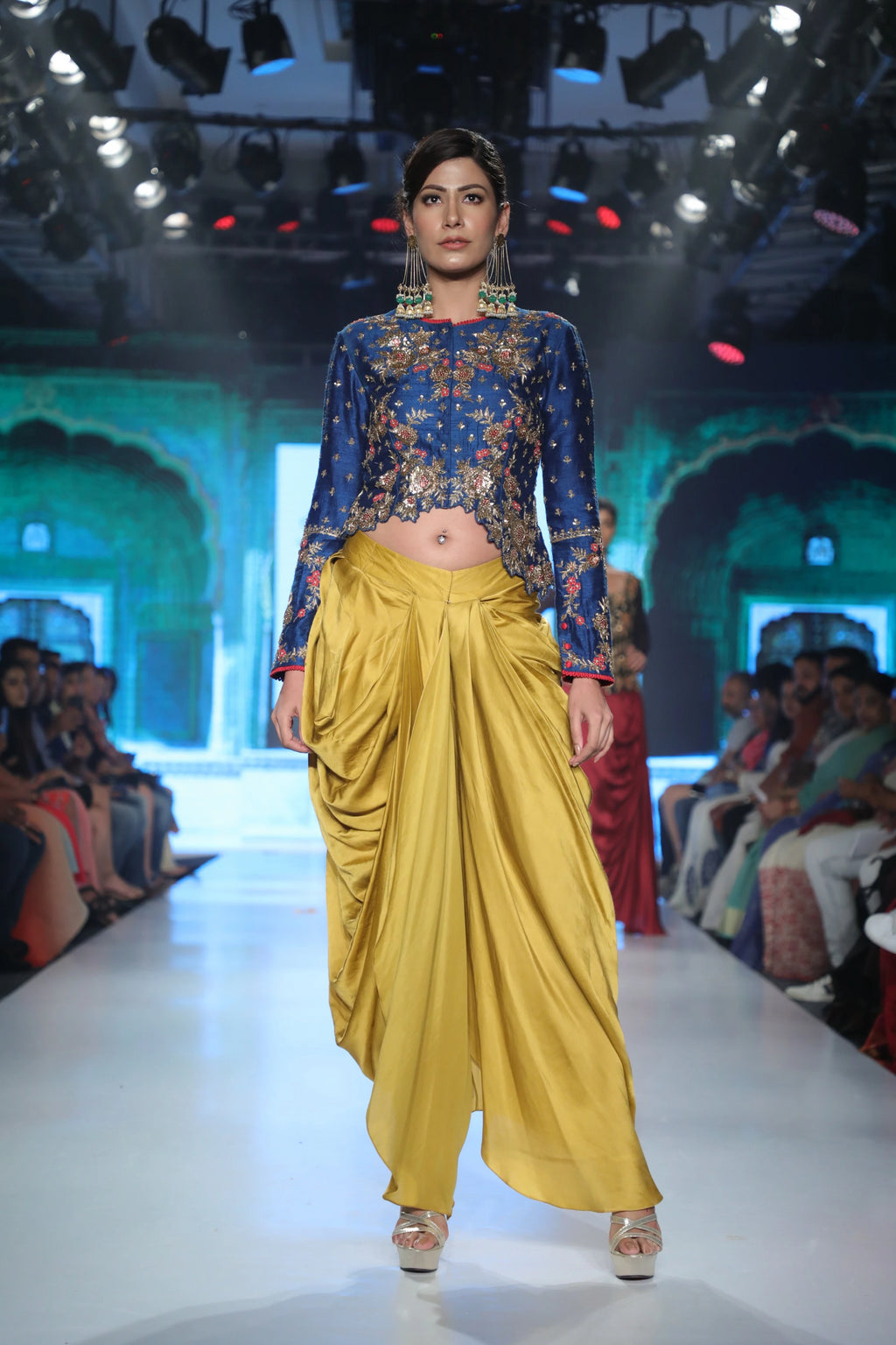 Joy Mitra - Royal Blue Jacket With Yellow Dhoti - INDIASPOPUP.COM