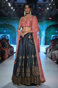 Joy Mitra - Pink Embroidered Blouse With Lehenga - INDIASPOPUP.COM
