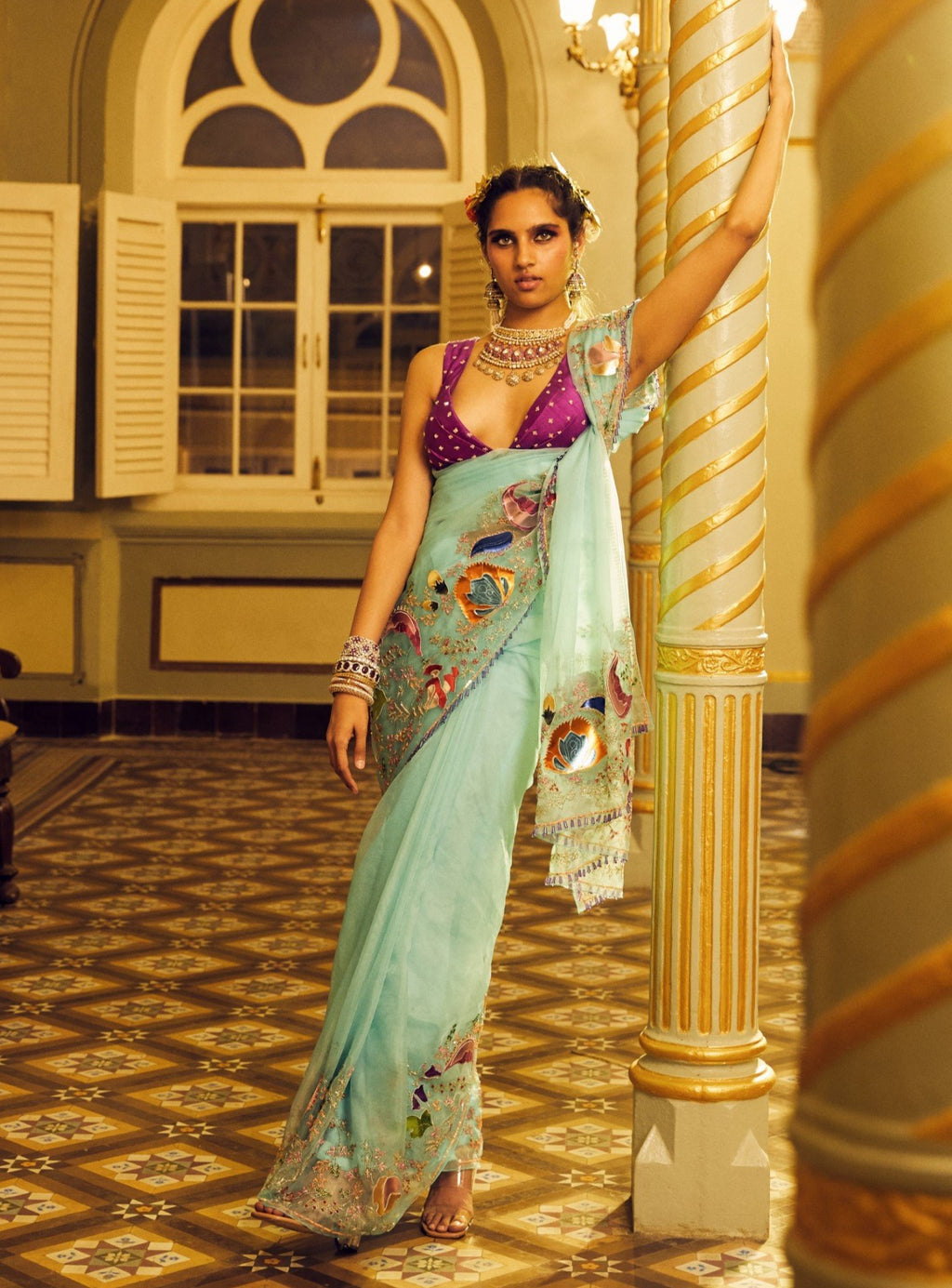 Scuba Blue Embellished Saree With Blouse