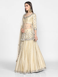 Abhinav Mishra-Beige & Golden Peplum With Skirt Set-INDIASPOPUP.COM