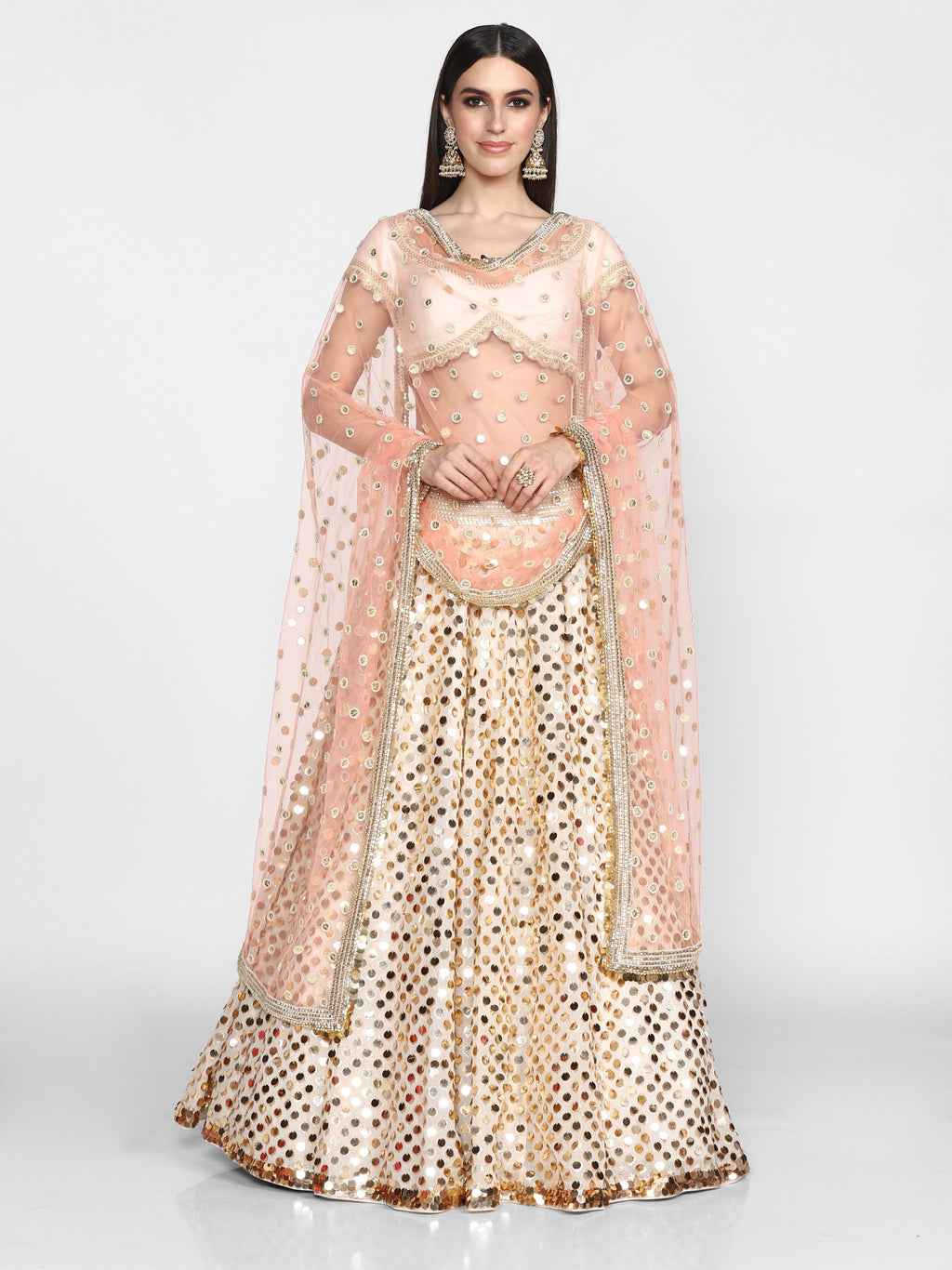 Abhinav Mishra-Off White Hand Embroidered Lehenga Set-INDIASPOPUP.COM