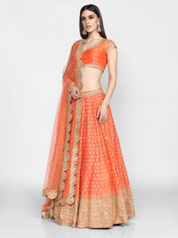 Abhinav Mishra-Orange Hand Embroidered Lehenga Set-INDIASPOPUP.COM