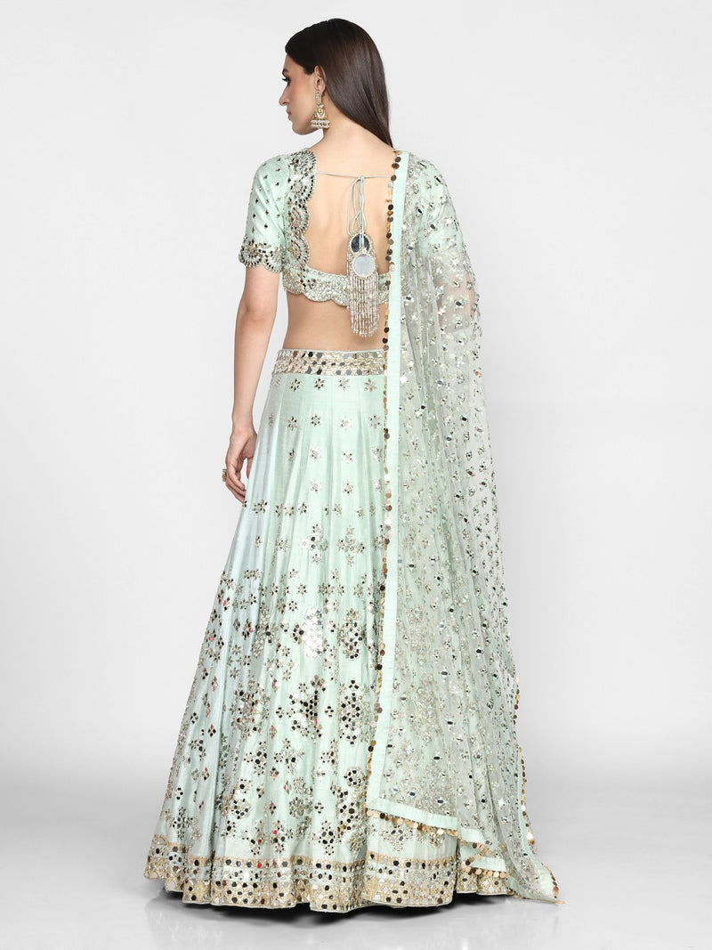 Abhinav Mishra-Powder Blue Hand Embroidered Lehenga Set-INDIASPOPUP.COM