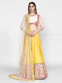 Abhinav Mishra-Yellow & Pink Hand Embroidered Lehenga Set-INDIASPOPUP.COM
