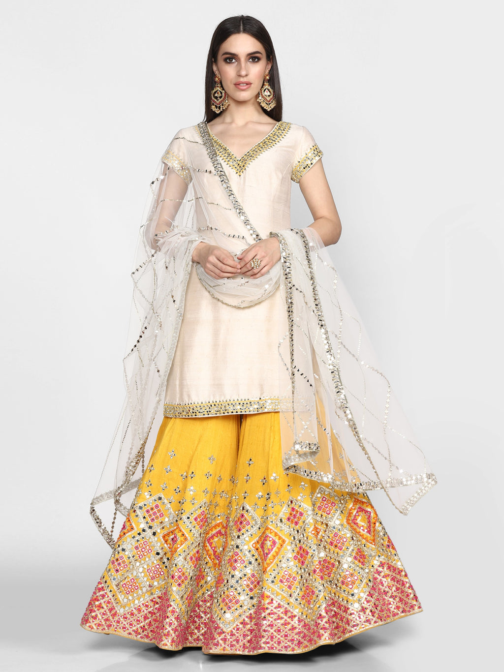 Abhinav Mishra-Off White & Yellow Embroidered Sharara Set-INDIASPOPUP.COM