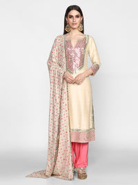 Abhinav Mishra-Mint Green & Pink Embroidered Kurta With Salwar-INDIASPOPUP.COM