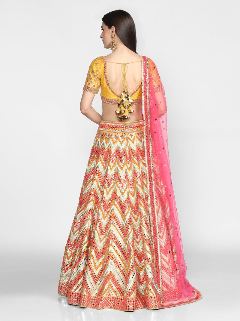 Abhinav Mishra-Multicolor Hand Embroidered Lehenga Set-INDIASPOPUP.COM