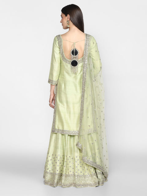 Abhinav Mishra-Mint Green Hand Embroidered Sharara Set-INDIASPOPUP.COM