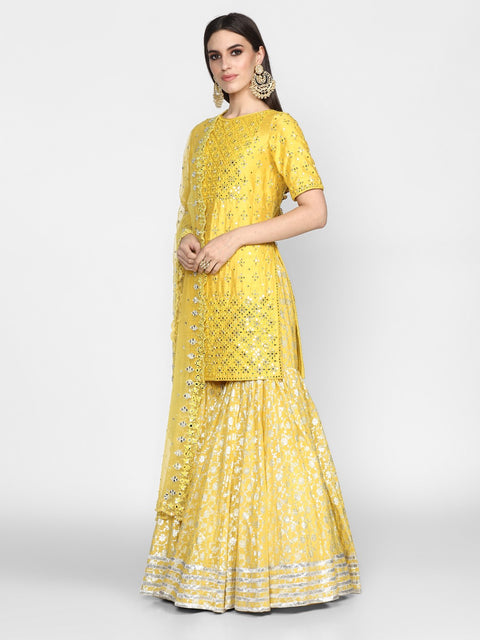 Abhinav Mishra-Yellow Hand Embroidered Kurta With Sharara-INDIASPOPUP.COM