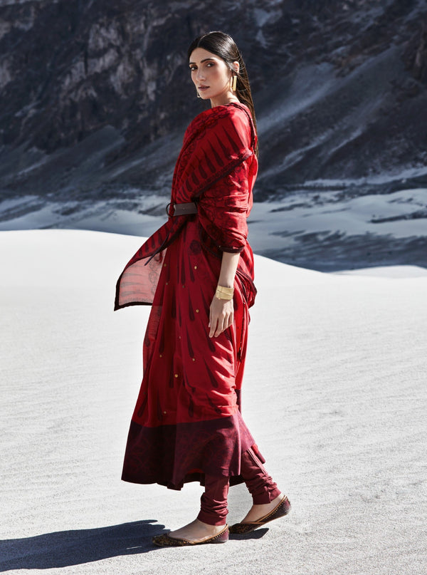 Red Anarkali With Churidar & Dupatta