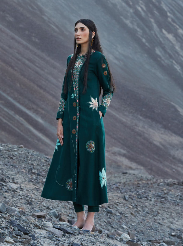 Bottle Green Embroidered Long Jacket