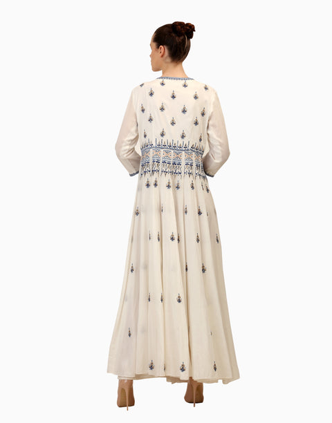Samant Chauhan - Ivory Embroidered Overlap Dress - INDIASPOPUP.COM