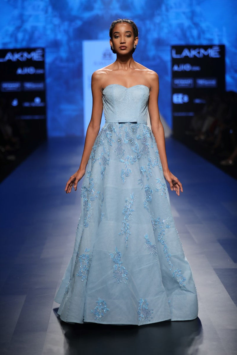 AGT BY AMIT GT BLUE BALL GOWN