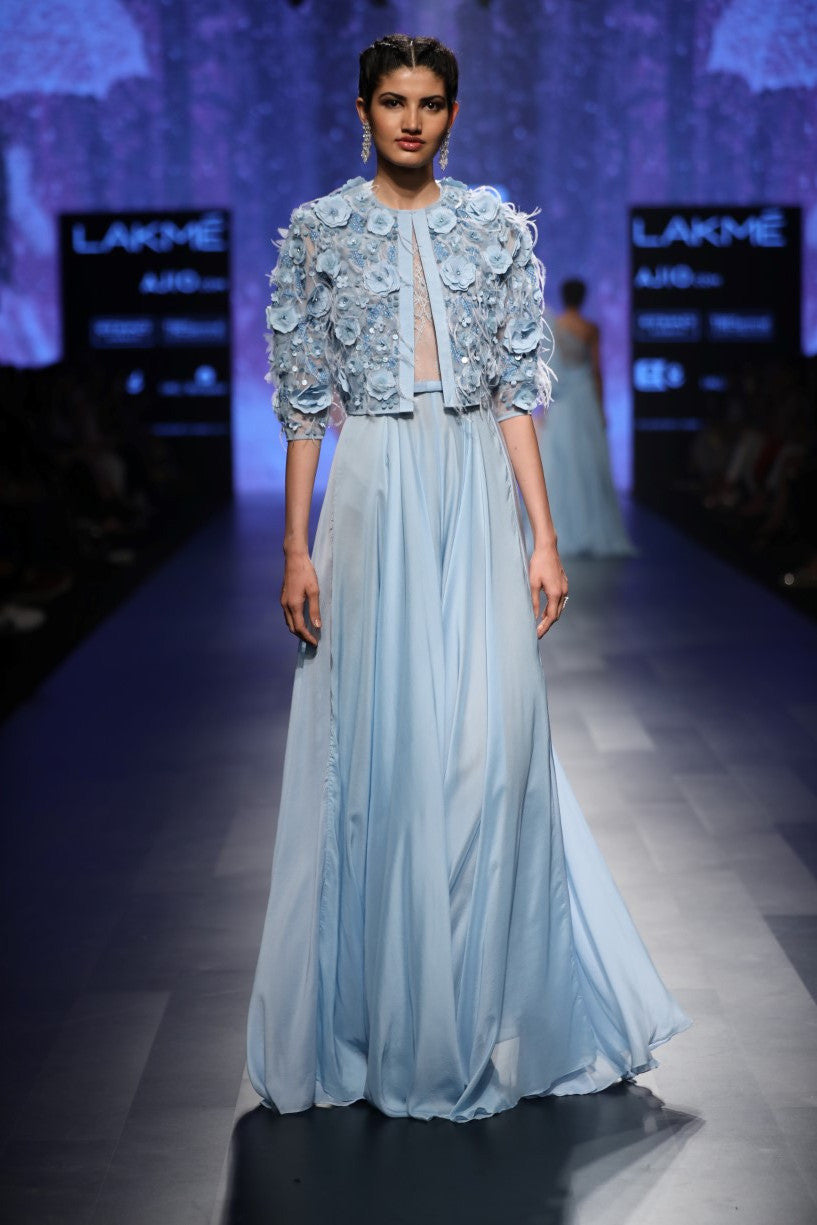 AGT BY AMIT GT BLUE CHIFFON GOWN
