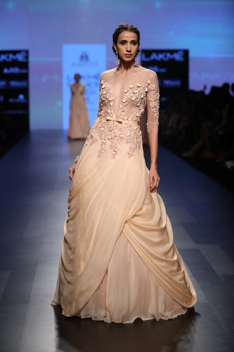 AGT By Amit GT | Peach Ball Gown | INDIASPOPUP.COM