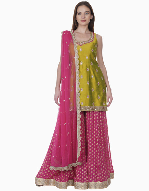 Bhumika Grover-Lime Green Kurta With Pink Sharara-INDIASPOPUP.COM