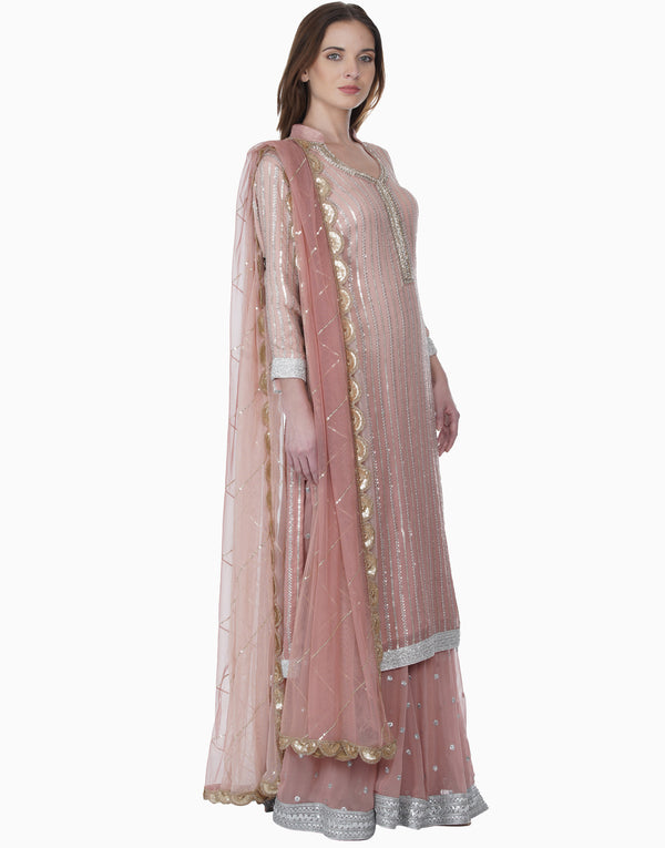 Bhumika Grover-Blush Pink Ombre Sequence Work Sharara-INDIASPOPUP.COM