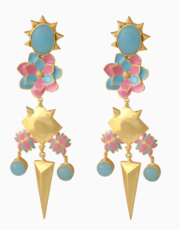 Belsi'S Jewelry - Belsis Dangle Pink Enamel Earrings - INDIASPOPUP.COM
