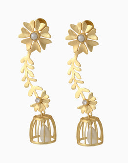 Belsis Gold Cage Earrings