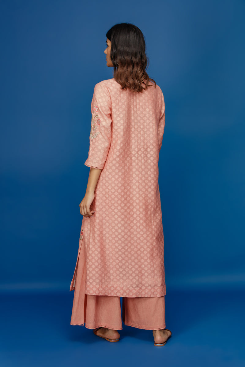Anju Modi - Old Rose Embroidered Straight Kurta Set - INDIASPOPUP.COM