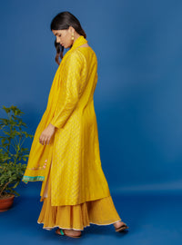 Anju Modi - Yellow Embroidered Kurta & Skirt - INDIASPOPUP.COM