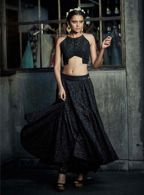 The Little Black Bow - Black Crop Top With Skirt & Pants - INDIASPOPUP.COM