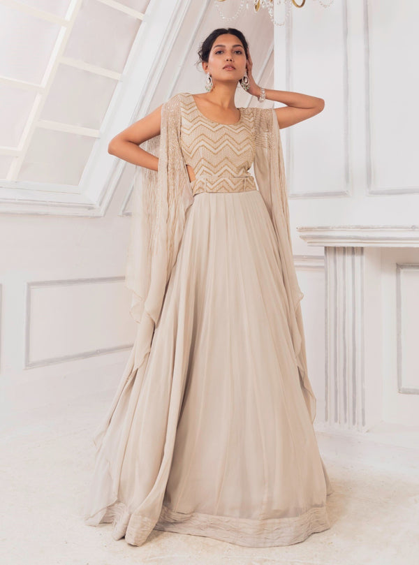 Charu & Vasundhara-Grey Embroidered Side Cut Gown-INDIASPOPUP.COM