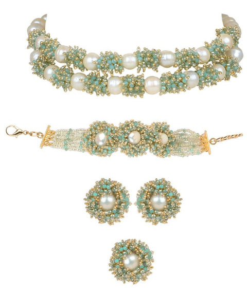 House Of Doro-Blue Adjustable Choker Set-INDIASPOPUP.COM