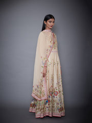 Ri.Ritu Kumar-Light Beige Kurta With Churidar & Dupatta-INDIASPOPUP.COM