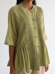 Cord-Dull Green Hill Top-INDIASPOPUP.COM