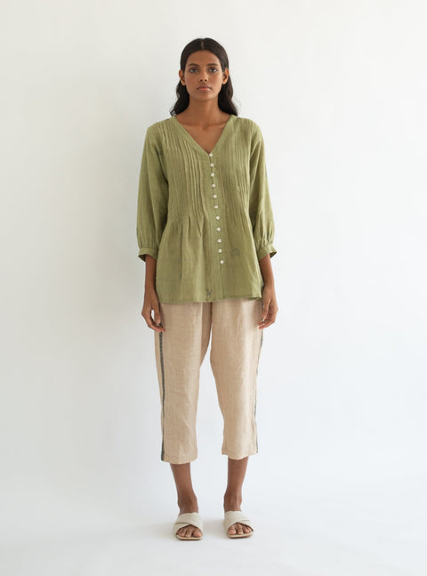 Cord-Dull Green Latitude Top-INDIASPOPUP.COM
