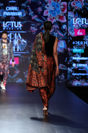 Navy Printed Jacket With Dhoti