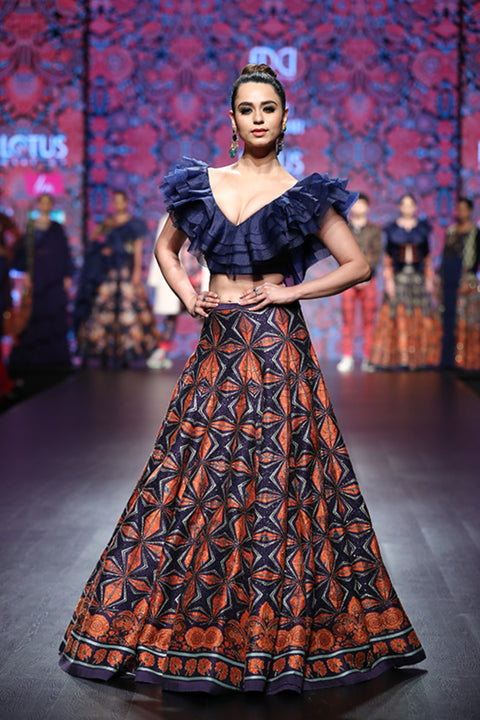 Navy Printed Lehenga With Frill Blouse