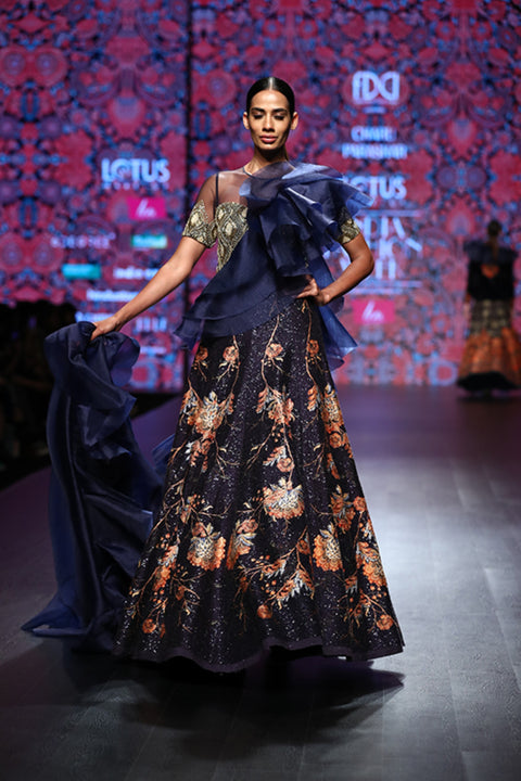 Navy Printed Gown With Long Frill