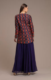Navy Printed Jacket With Sharara